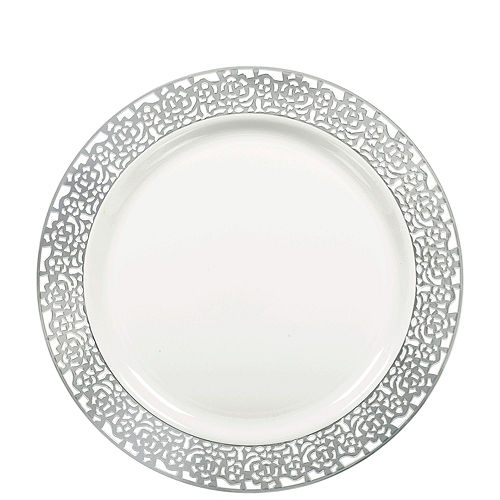 White Silver Lace Premium Tableware Kit for 60 Guests Image #2