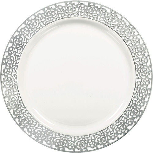 White Silver Lace Premium Tableware Kit for 60 Guests Image #3