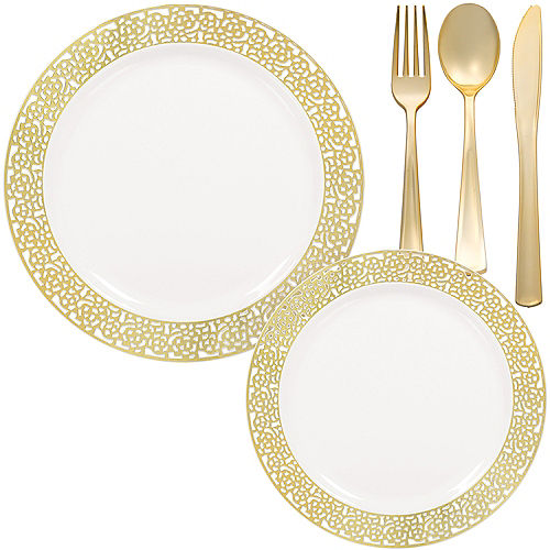 White Gold Lace Premium Tableware Kit for 60 Guests Image #1