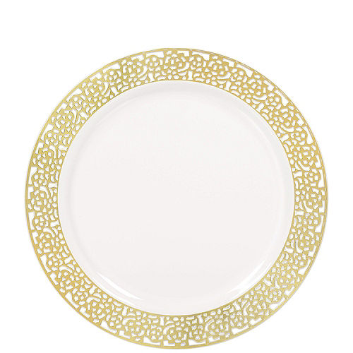 White Gold Lace Premium Tableware Kit for 60 Guests Image #2