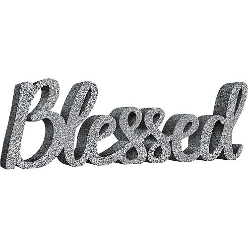 Glitter Silver Blessed Block Letter Sign Image #1