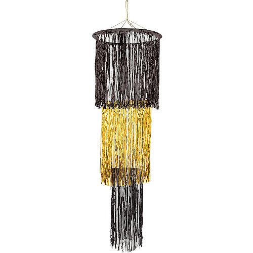 Black & Gold Tinsel Chandelier Image #1