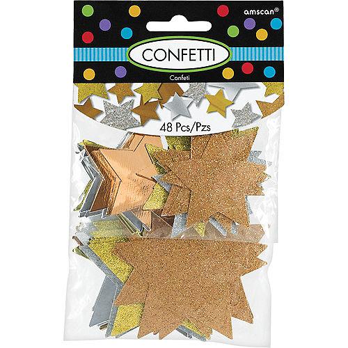 Giant Copper, Gold & Silver Confetti Stars 48ct Image #1