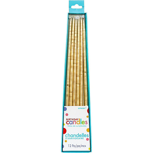 Long Gold Birthday Candles 12ct Image #1