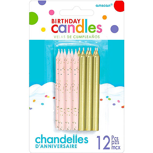 Gold & Pink Birthday Candles 12ct Image #1