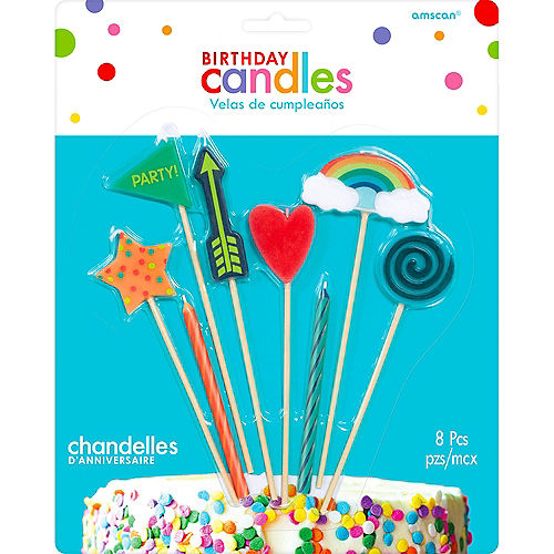 Colorful Icons Birthday Candles 8ct Image #1