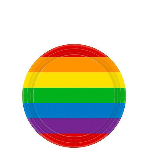 Rainbow Striped Dessert Plates 8ct Image #1