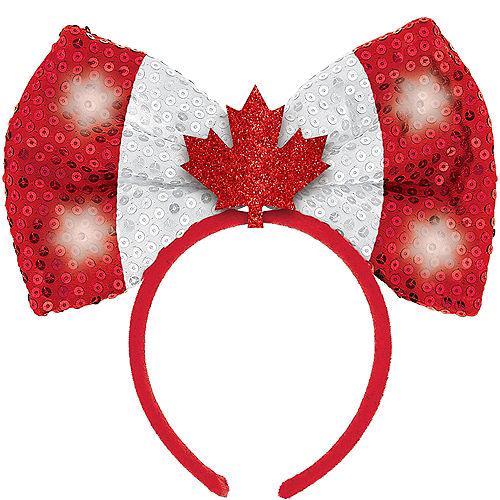 Light-Up Sequin Canadian Flag Headband Image #1