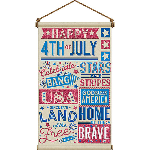 Patriotic Red, White & Blue 4th of July Canvas Sign Image #1