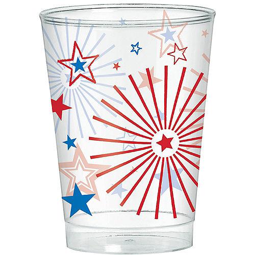 Patriotic Red, White & Blue Stars Plastic Cups 40ct Image #1