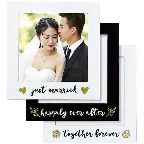 Black & Gold Wedding Magnetic Photo Frames 3ct Image #1