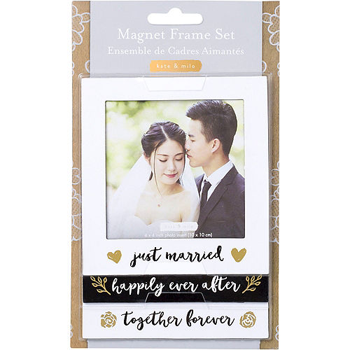 Black & Gold Wedding Magnetic Photo Frames 3ct Image #3