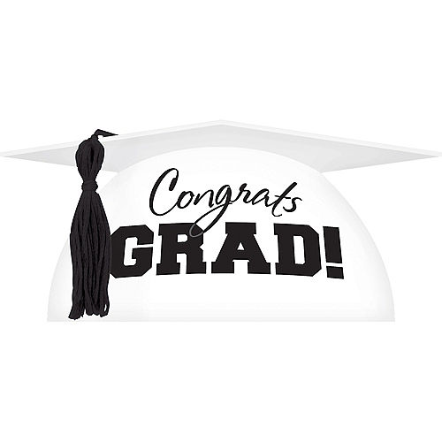 White Graduation Cap Cake Topper Image #1