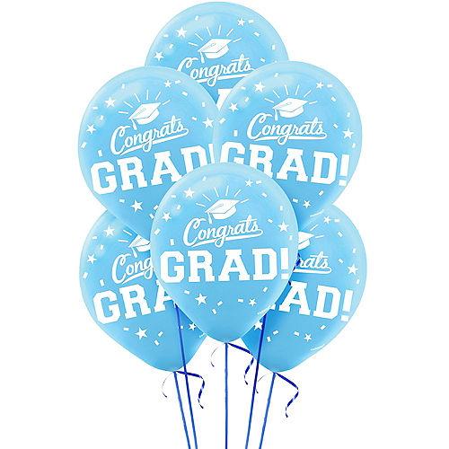 Caribbean Blue Congrats Grad Balloons 15ct Image #1