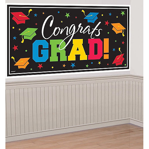 Nav Item for Black & Multicolor Congrats Grad Plastic Banner, 65in x 33.5in Image #1