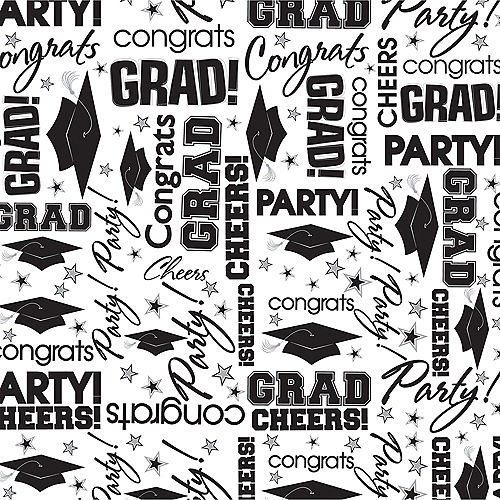 Black & White Graduation Tissue Paper 8ct Image #1