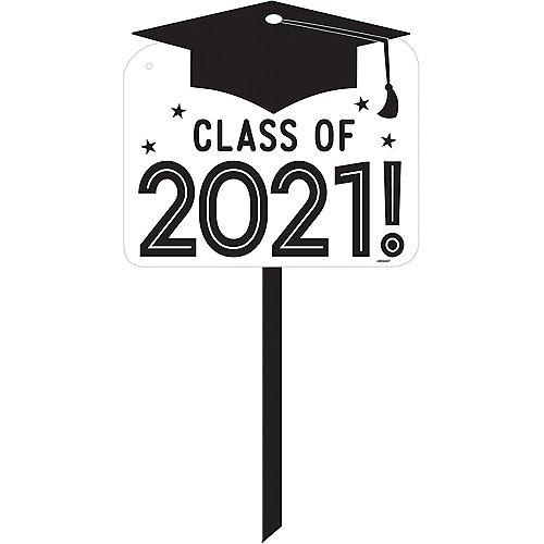 White Class of 2021 Graduation Plastic Yard Sign Image #1