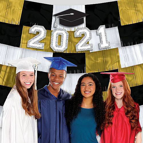 Class of 2021 Graduation Foil Fringe Banners with Cutouts Image #1