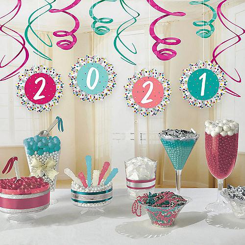 Yay Grad 2021 Paper Fan & Swirl Decorations, 12ct Image #1