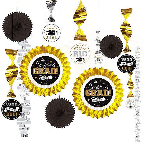 Black, Gold, & Silver Graduation Decorating Kit 13pc Image #1