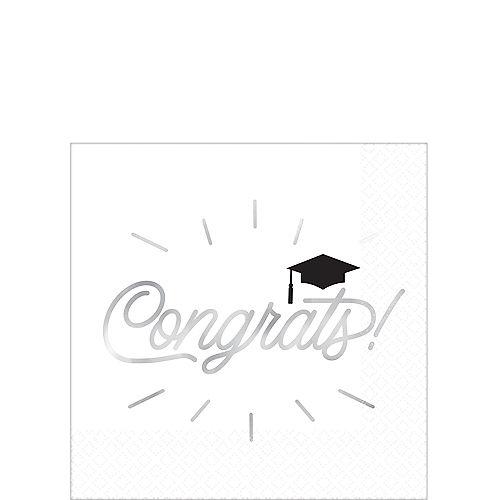 Metallic Grid Graduation Beverage Napkins 16ct Image #1