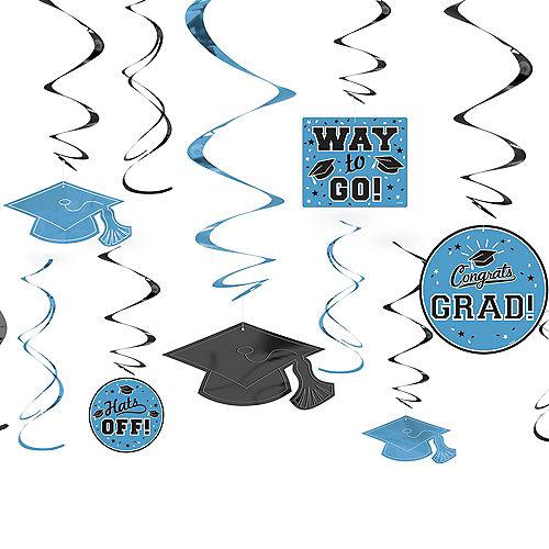 Powder Blue Graduation Swirl Decorations 12ct Image #1
