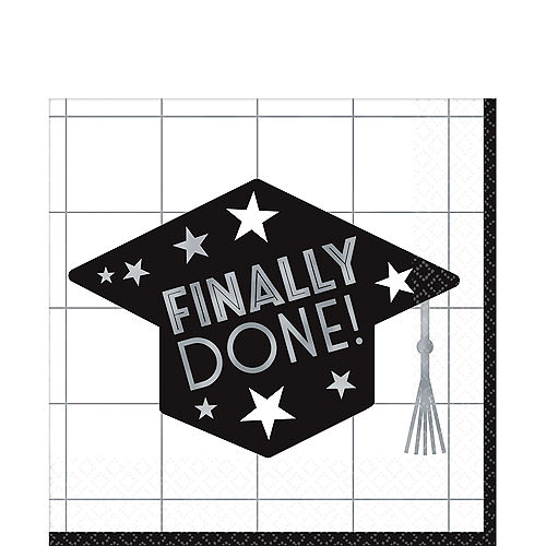 Finally Done Grid Graduation Lunch Napkins 36ct Image #1