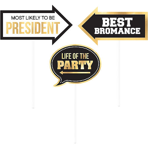 Black & Gold Graduation Photo Booth Props 13ct Image #5