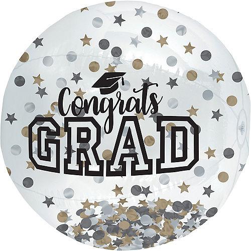 Gold, Silver and Black Graduation Confetti Beach Ball Image #1
