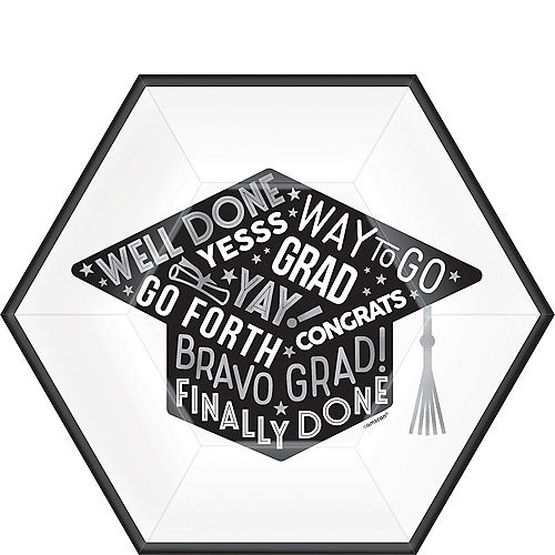 Grid Graduation Hexagon Lunch Plates 18ct Image #1