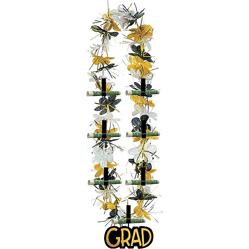 Black, Gold & Silver Graduation Lei Image #1