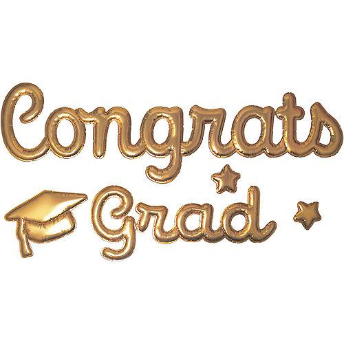 Gold Congrats Grad Puffy Stickers 1 Sheet Image #1
