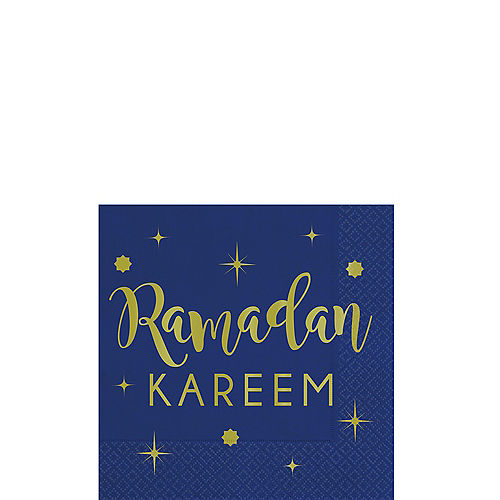Metallic Gold Ramadan Kareem Beverage Napkins 16ct Image #1