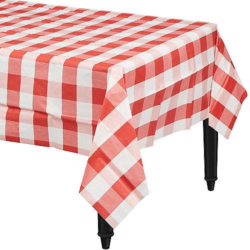 Red & White Plaid Table Cover Image #1