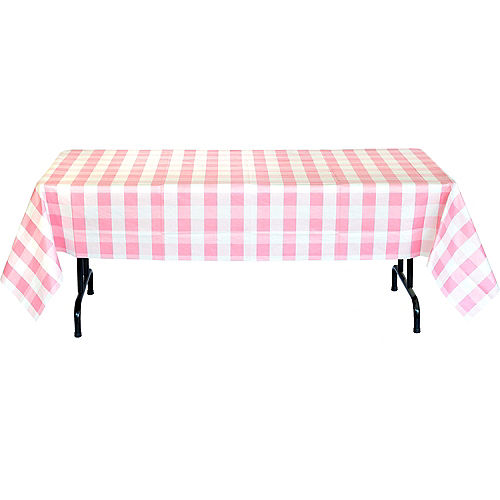 Pink & White Plaid Table Cover Image #3