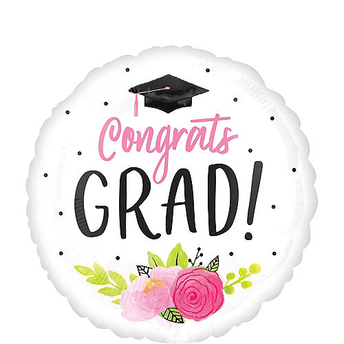 Giant Pink Floral Congrats Grad Balloon, 28in Image #1