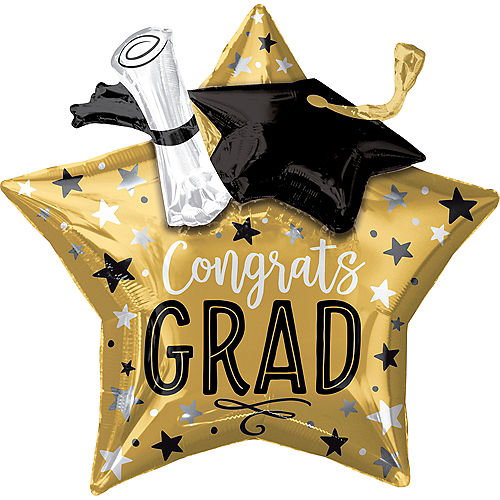 Giant 3D Congrats Grad Star Graduation Balloon, 28in Image #1