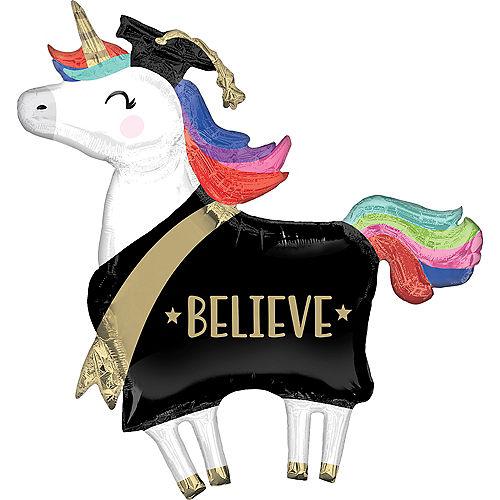 Giant Unicorn Believe Graduation Balloon, 33in Image #1