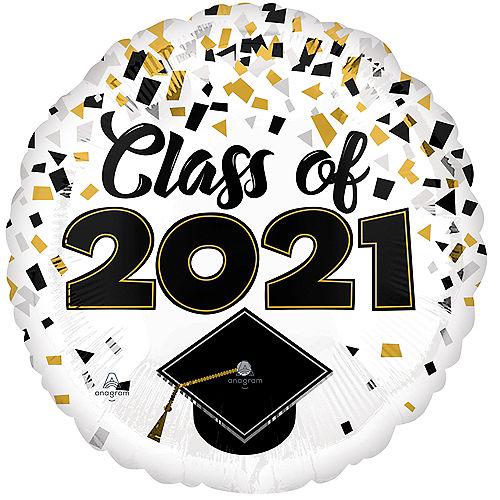 Black, Silver & Gold Confetti Class of 2021 Graduation Balloon, 17in Image #1