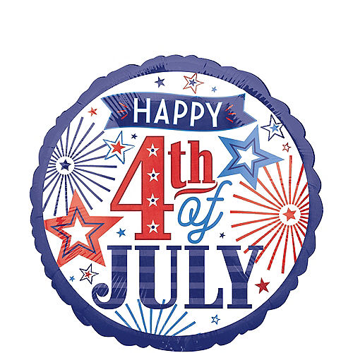 Patriotic Red, White & Blue Happy 4th of July Balloon, 17in Image #1