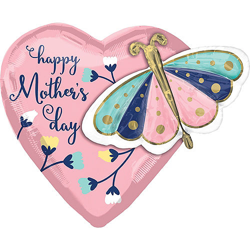 Butterfly Mother's Day Heart Balloon, 26in Image #1