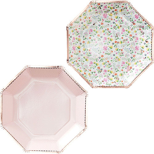 Ginger Ray Rose Gold-Trimmed Floral & Polka Dot Lunch Plates 8ct Image #1