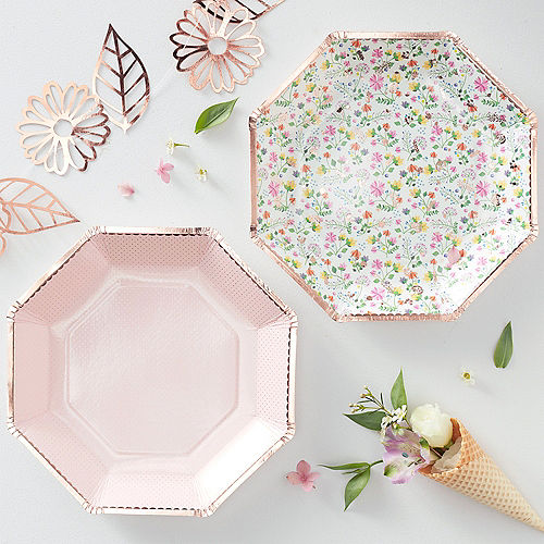 Ginger Ray Rose Gold-Trimmed Floral & Polka Dot Lunch Plates 8ct Image #2