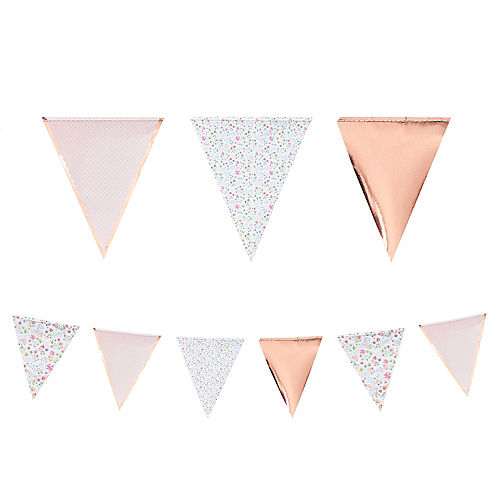 Ginger Ray Floral & Rose Gold Pennant Banner Image #1