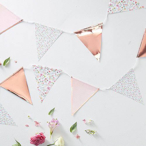 Ginger Ray Floral & Rose Gold Pennant Banner Image #2