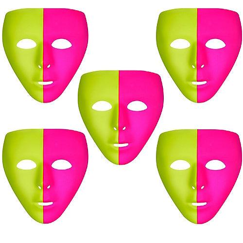 Black Light Neon Pink & Green Face Mask 10ct Image #1