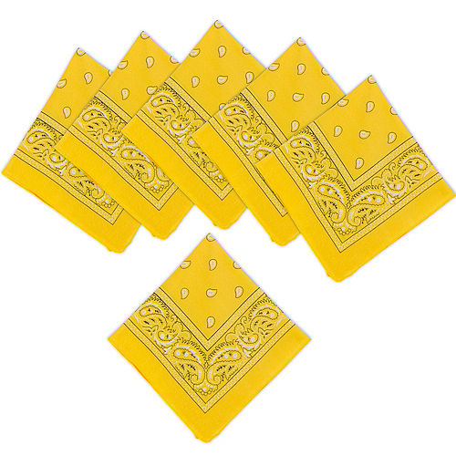 Yellow Paisley Bandanas, 20in x 20in, 10ct Image #1