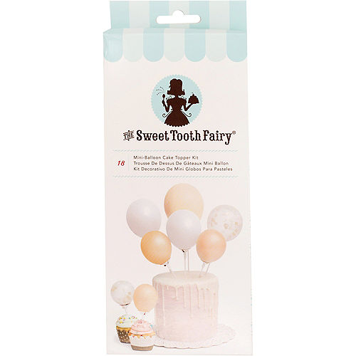 Sweet Tooth Fairy Air-Filled Gold Mini-Balloon Cake Topper Kit 18pc Image #1