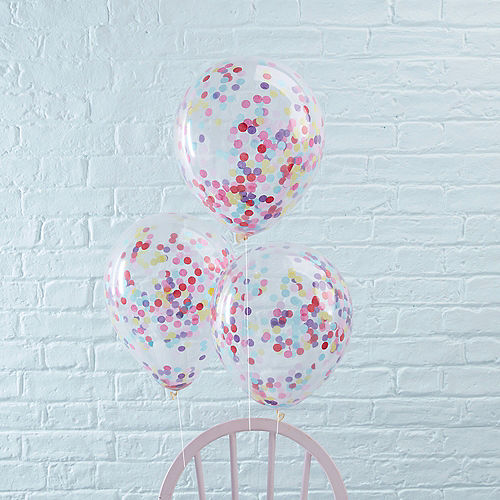 Ginger Ray Pastel Confetti Balloons 5ct, 12in Image #1