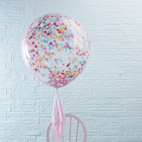 Ginger Ray Giant Multicolor Confetti Balloons 3ct, 36in Image #1